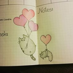 Weekly spread pusheen! #pusheen #doodle #journaldoodles #bulletjournal…