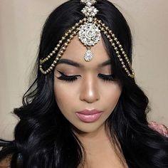 Gold Diamante Matha Patti Wedding Bridal Goddess Bohemian Boho Grecian Head Chain Hair Jewelry Piece Bollywood Wedding Crystal Rhinestone