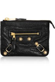 Balenciaga Studded textured-leather pouch
