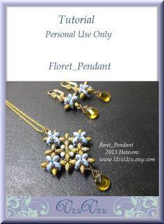 *P SuperDuo Beading Tutorial instructions patterns- PDF download- Floret/pendant