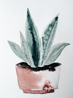 Watercolor potplant by Janneke Luursema