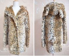 2013 Autumn Winter Women's Leopard Faux Fur Overcoat Long Style Cartoon Ladies' Fur Coat With A Hood and Animals Ears Tail £34.44