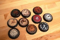 Steampunk Old World Clocks Watches Time Pieces Bow Centers 12pk Bottle Caps Only. $7.00, via Etsy.