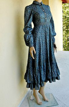 Gunne Sax Prairie Dress - XS - Blue Prairie Dress - Gunne Sax Maxi - S Gunne Sax Dress. $125.00, via Etsy.