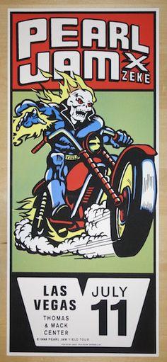"Pearl Jam w/ X and Zeke - silkscreen concert poster (click image for more detail) Artist: Ames Design Venue: Thomas & Mack Center Location: Las Vegas, NV Concert Date: 7/11/1998 Size: 10"" x 23"" Editio"