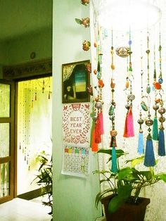 Things that hang with colorful beads, strings, pompoms, etc.