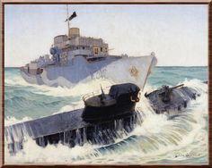 HMCS Ville de Québec Gets a Sub. War artist Harold Beament's painting depicts the destruction by the Canadian corvette of the German U-224 on 13 Jan 43