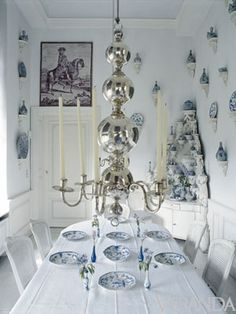 A curatorial eye brings together objects of rare beauty—a Guatemalan silver chandelier, French faience, Ming china, a Louis XV corner cabinet—in a cultured, cultivated display.
