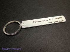 Thank You for Being My Person Keychain for Couples or Best