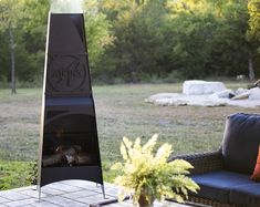Pyro Monolith Metal Chiminea Vertical Fire Pit   Etsy Metal Chiminea, Chiminea Fire Pit, Fire Pit Frame, Metal Fire Pit, Diy Outdoor Fireplace, Fire Grill, Fire Pit Designs, Rocket Stoves, Log Burner