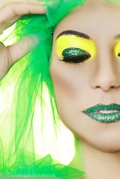 green, yellow, makeup
