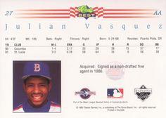 1992 Classic Best #27 Julian Vasquez Back