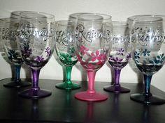 DIY Hand Painted Glasses with Rhinestones :  wedding bridesmaids diy diy painted glasses PaintedWineGlasses2