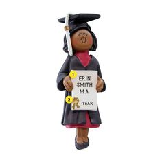 December College Graduations are almost here ! Celebrate your college grad with our Graduate Ornament - African-American Female Erin Smith, Graduation Ornament, College Graduation Gifts, Hard Work And Dedication, Personalized Ornaments, New Career, Mickey Mouse, Resin, December