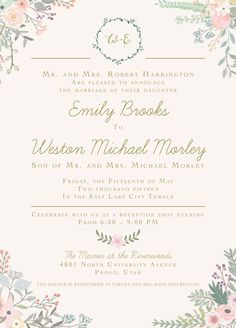 I love this only gray backround and my colors as the flowers emily and weston the invitation maker stopboris Choice Image