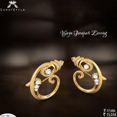 With Love Vighna Nashak #Ganesha! #Ganeshchaturthi #earring #ganeshaearring #ganeshearring #diamondearring #goldearring #earringforgirls India Jewelry, Jewelry Art, Gold Jewelry, Jewelry Design, Gold Fashion, Fashion Jewelry, Jewelry Patterns, Ring Necklace, Diamond Jewelry