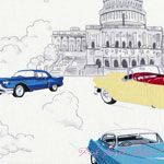 Timeless Treasures Retro Cars Scenic White [TT-C1245-White] - $10.45 : Pink Chalk Fabrics is your online source for modern quilting cottons and sewing patterns., Cloth, Pattern + Tool for Modern Sewists