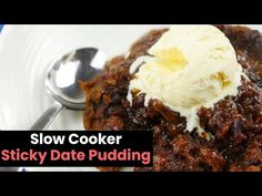 This sweet slow cooker sticky date pudding is the perfect way to finish off a busy day. It's relatively easy to get cooking and tastes amazing! Crock Pot Desserts, Slow Cooker Desserts, Slow Cooker Recipes, Baking Desserts, Crockpot Recipes, Gourmet Recipes, Sweet Recipes, Watercress Soup, Sticky Date Pudding