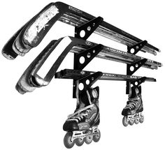 An easy to use wall mount hockey stick rack that can store over 15 hockey sticks at once