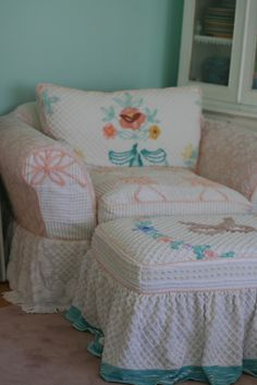 This client is working on getting ready to have her daughter's wedding reception at her house. She wanted to slipcover two loveseats and a c...