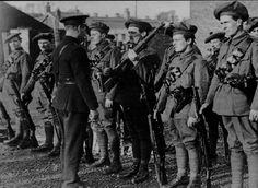 An RIC officer inspects members of the Auxiliary's a special force of volunteer British ex-servicemen sent to Ireland to backup the RIC during the war of independents. Ireland 1916, Irish Independence, Images Of Ireland, The Valiant, Michael Collins, History Projects, St Paddys Day, Irish Celtic, Historical Photos