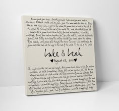 Dave Matthews Band You and Me printed onto canvas and customized with the couples name and wedding date. It is the perfect wedding or