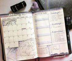 ✨⭐️ My February monthly spread... I didn't use the typically red, pink and hearts theme. I wanted something unique. Since February's birth stone is amethyst, I created a galaxy theme of purples, constellations, etc. I love anything sci-fi, astronomy, and time and space. It's a reflection of me. . For my layout, I combined a few styles. After looking at Feb's future planning events, I dedicated a whole column for them. I used the dot color-coding system for my calendar, like I did for…