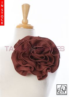Tawni Haynes Circle Flower Pin (10 inch) - Burgundy Denim Fabric Flower Brooch, Fabric Flowers, Black Stripes, Burgundy, Denim, Grey, Color, Gray, Burlap Flowers