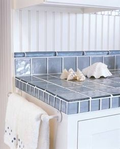Image Gallery of Recycled Glass Tile Counters Glass Countertops, Tile Countertops, Tiled Countertop Bathroom, Tile Countertops Kitchen, Home Decor, Kitchen Tiles, Kitchen Remodel Design, Bathroom Decor, Glass Tiles Kitchen