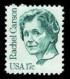 Rachel Carson a pioneering environmentalist and book writer. Her books raised awareness of the deadly effects of pesticides. Honored on this 17 cent stamp in 1981.