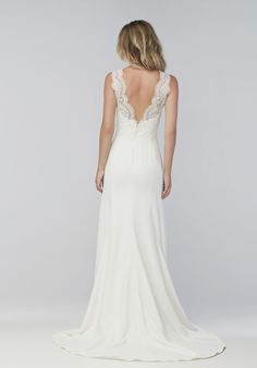 Old World romance meets modern simplicity. For the contemporary bride who wants a streamlined, sexy shape, this stretch satin-lined gown starts with a fitted sweetheart neckline and a defined waist before falling into a soft, flooring-dusting skirt with a sweep train. And for the traditional bride, Cybele lace overlays on the bodice, straps, and back adds a feminine touch. This ivory Georgette wedding dress gives you the best of both worlds. Beaded version also available as style 16593B.