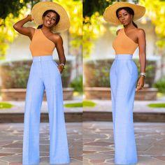 "Folake Kuye Huntoon on Instagram: ""One Shoulder Tank x @shopfksp High Waist Pants.  PS- Love these @tongorostudio earrings!  Link in bio for more fit details."""