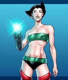 Versiones femeninas de los superheroes: ASTROGIRL (para los mas chicos es la versión del manga ASTROBOY)
