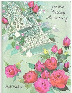 Our Wedding Anniversary card, 1st Wedding Anniversary, Happy Anniversary, Special Words, Free Facebook, Vintage Wedding Invitations, Vintage Cards, Wedding Cards, Bridal Shower, Retro