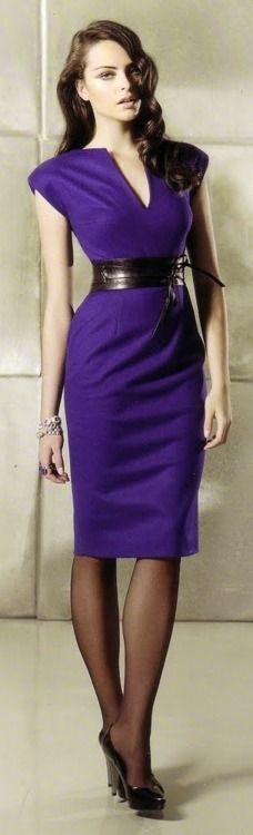 purple dress, black corset belt...not a fan of purple, but I love the design, cut & belt. I wish it was a different color.