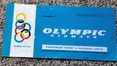 Olympic Airways Passenger Ticket