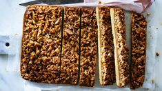 From old-school no-bake classics to contemporary caramel, these slices are great, any way you slice and dice 'em. Chocolate Coconut Slice, Chocolate Hazelnut, Baking Recipes, Dessert Recipes, Desserts, Slice Recipe, Rhubarb And Custard, Fruit Slice, School Lunches