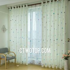 Cute Fun Toile Kids Room White Colorful Moon And Star Curtains