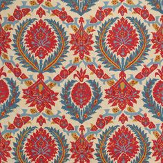 Zenobia in Pompeian Red/Blue from Brunschwig & Fils #fabric #linen #red #blue