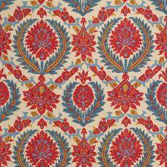 BR-700018 - 147 ZENOBIA LINEN PRINT - POMPEIAN RED/BLUE Upholstery Red/Burgundy Blue Brunschwig & Fils 100% LINEN