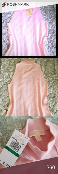 💢NWT💢 Michael Kors Pink top This is a sleeveless mock turtle neck knot top with v-neck cut out. Soft, feminine and many ways to wear. Pair under a suit, with a cardigan, or make it your favorite top with your capris! Perfect condition. Also has a small Michael Kors metal tag at hem. Michael Kors Tops Blouses
