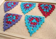 Alice's crocheted triangles with picot edging for 'Granny' Bunting