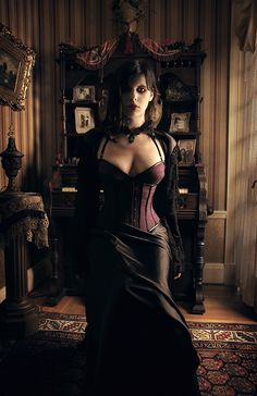 Gothic & Steampunk Model    #Bustier #Long #Skirt #Choker #Hair #Makeup #Gothic #Goth #Steampunk #Victorian #Eyes