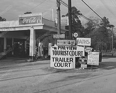 Trailer Park Gas Station w Soda Signs 8x10 Reprint Of Old Photo