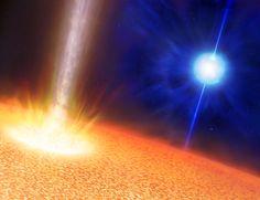 Gammablitze wie in Superzeitlupe: Heiße, blaue Wolf-Rayet-Sterne (hinten) verursachen kurze Gamma-Blitze. Der Riesenstern vorne hat ungefähr die zwanzigfache Masse der Sonne, ist aber rund tausendmal größer und kann einen ultralangen Gammablitz hervorrufen (Bild: Mark A. Garlick, U. Warwick). http://www.pro-physik.de/details/news/4612421/Gammablitze_wie_in_Superzeitlupe.html