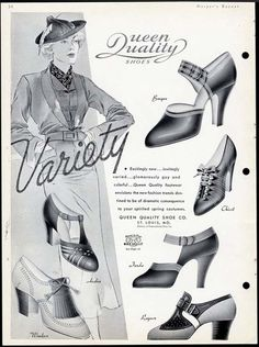 Queen Quality Shoes, 1936. #vintage
