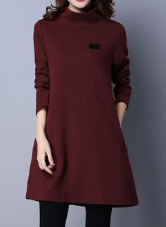 Cotton Solid Long Sleeve Above Knee Casual Dresses (1027785) @ floryday.com