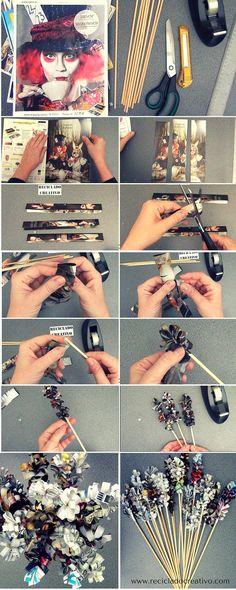 Flores de papel con hojas de revista - #desafioopitec de #HandBox #micatalogoopitecahoraes Infographic  https://www.facebook.com/elrecicladocreativo/videos/1120679771297879/