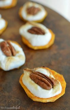 Sweet Potato Casserole Bites - This Thanksgiving appetizer has all the flavor of sweet potato casserole in one bite! Only 3 Ingredients! Fall Appetizers, Best Appetizer Recipes, Appetizer Ideas, Easy Thanksgiving Appetizers, One Bite Appetizers, Fall Recipes, Holiday Recipes, Holiday Foods, Party Recipes