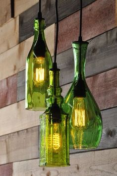 Dekoration, Wohnzimmerleuchten, Schlafzimmer Lampen, Anhänger Kronleuchter, Flasche  Kronleuchter, Grüne Lampe, Wohnkultur Ideen, Beleuchtung, ...